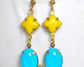 Vintage Yellow and Turquoise Aqua Blue Oval Faceted Brass Dangle Earrings