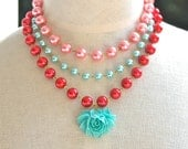 Aqua Ruffled Rose Baby Blue  Pink Red Baby Blue Glass Pearl Beads Triple Strand Statement Necklace - Wedding, Bridal, Valentines Day