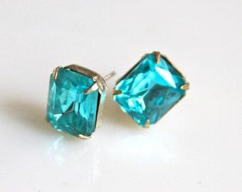 Vintage Aqua Blue Rectangle Rhinestone Glass Silver Rhinestone Post Earrings - Bridal, Bridesmaid, Wedding, Beach