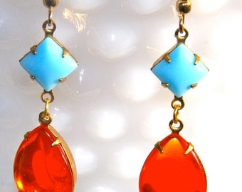 Vintage Tangerine Orange Hyacinth Pear Shape Glass Square Blue Rhinestone Drop Dangle Earrings