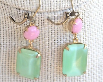 Vintage Mint Green Peridot and Pink Rectangle Square Moonstone Glass Brass Drop Dangle Earrings - Wedding, Bridal, Upcycled,Preppy