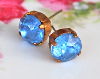Vintage Blue Rhinestone Gold Antiqued Brass Round Rhinestone Post Earrings - Wedding, Bridal