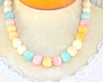 Vintage Textured Bead Sponge Pastel Pink Blue Orange Blue Bead Necklace - One of a kind, Beach