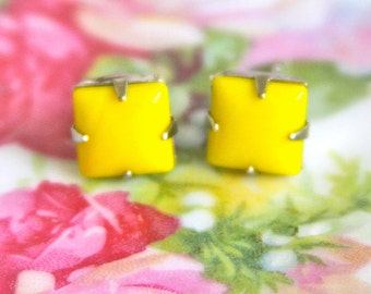 Vintage Bright Yellow Square Glass Stone Silver Setting Post Earrings - Bridesmaids, Wedding, Beach