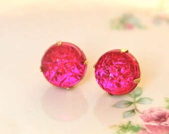 Vintage Fuschia  Pink Textured Glass Rhinestone Post Earrings Wedding, Bridal, Bridesmaid