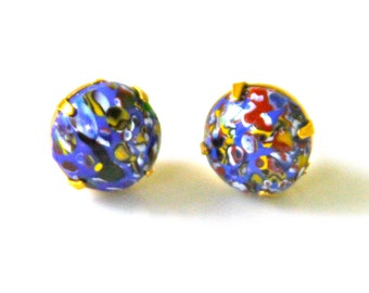Vintage Blue Red Yellow White Black Multicolor Dot Speckle Gold Brass Round Glass Post Earrings - Beach, Wedding