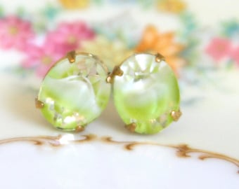 Lime Green White Clear Givre Glass Gold Brass Prong Vintage Rhinestone Post Earrings- Bridesmaid, Wedding, Bridal Earrings