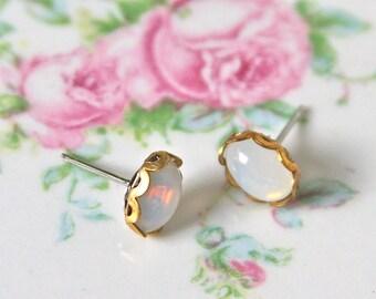 Vintage Oval Opal Glass  Brass Scalloped White Rhinestone Post Earrings, Bridal earrings,Bridesmaid Earrings