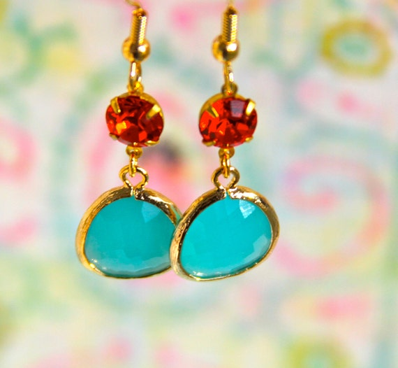 Aqua Turquoise Blue Glass Opal Tangerine Citrus Orange Rhinestone Gold Plated Tear Drop Dangle Earrings