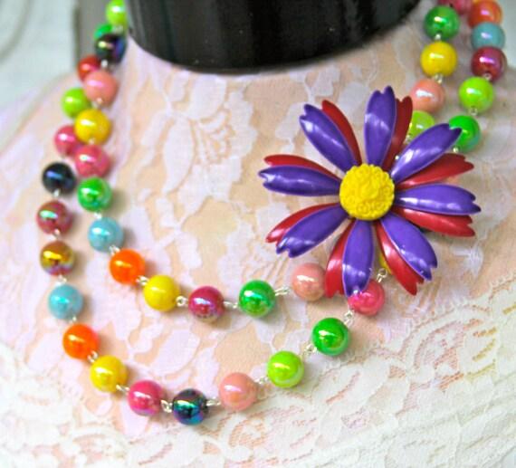 Vintage Lavender Purple Bright Yellow Enamel Flower Pendant Bright Multicolor Beads OOAK Statement Necklace