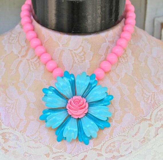 Vintage Aqua Blue Pink  Enamel Flower Pendant on Bubblegum Pink Round Beads Statement OOAK Necklace