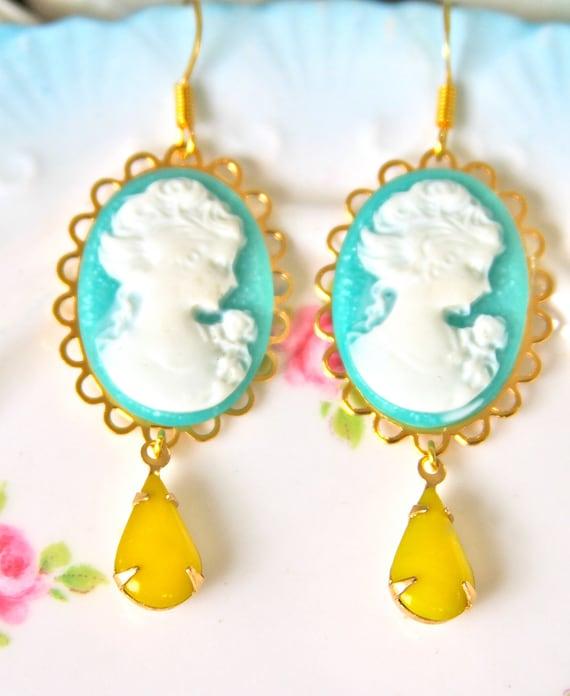 Aqua Blue Turquoise Cameo  Vintage Oval  Yellow Glass Pear Shape Tear Drop Bridal, Bridesmaid Drop Dangle Earrings
