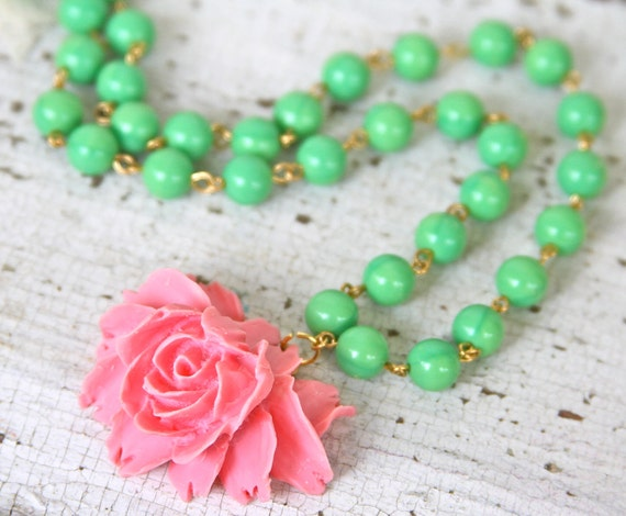 Vintage Inspired Apple Green Glass Beads Pink Ruffled Rose Romantic Necklace