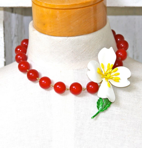 Vintage Yellow and White Enamel Flower Cherry Red Glass Beads One Of A Kind Design Statement Necklace - Tropical, Beach, Wedding