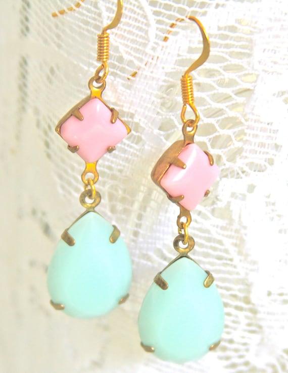Vintage Mint Green Pear Tear Drop Pink Square Glass  Drop Dangle Earrings - Wedding,Bridal,Bridesmaid Earrings