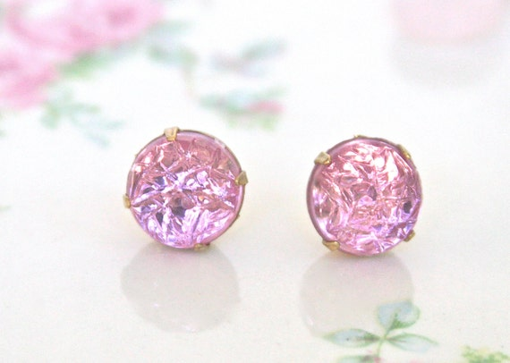 Vintage Pale Pink Lilac Purple EtchedTextured Glass Rhinestone Post Earrings - Wedding,Bridal,Bridesmaid Earring