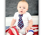 Baby Boy 4th of July, Summer Patriotic, Independence Day 2012 Tie Onesie / Bodysuit.  Stars and Stripes, Fireworks, Red, White and Blue