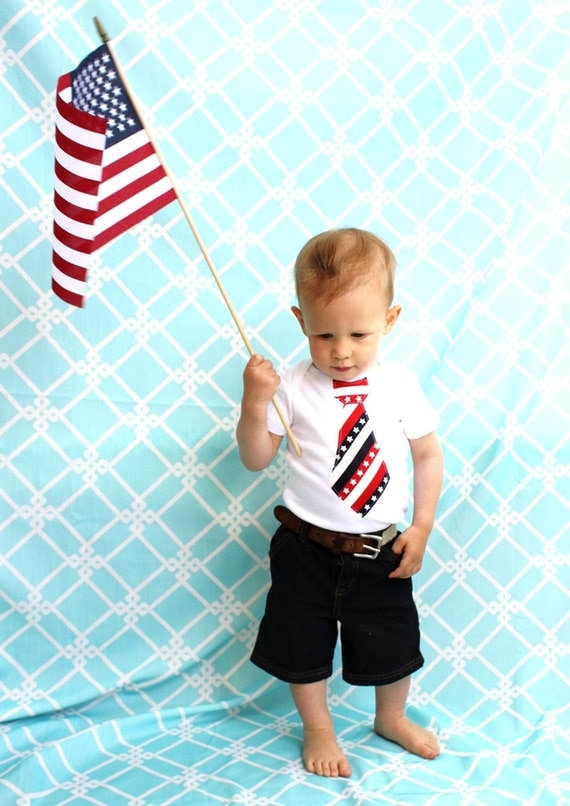 4th of July Patriotic Tie Bodysuit for Baby Boy.  Family Reunion, Memorial Day, Welcome Home Outfit, Summer 2015 Vacation, Father's Day, USA