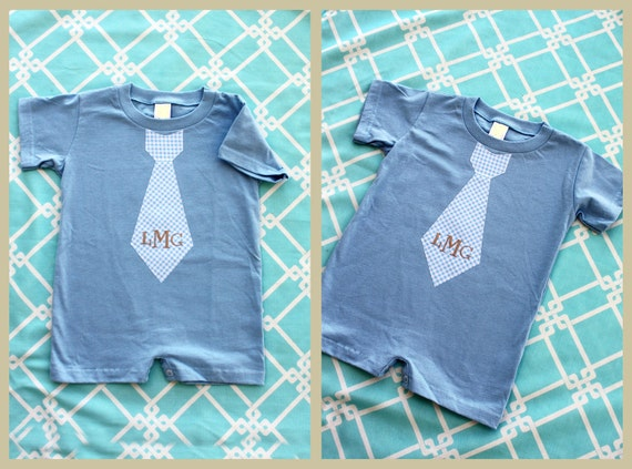 Mother's Day Plaid New Personalized Tie Baby Boy Romper.    Choose Any Tie and Any Monogram or Name for Our Baby Blue, Short Sleeve, Romper.