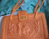 Vintage Hand Tooled Leather Pocketbook Bag Purse