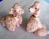 Lefton Spaghetti Pink Poodle  Salt and Pepper Shakers