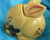Bunny Rabbit Honey Jar Majolica