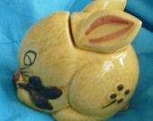Bunny Rabbit Honey Jar Majolica