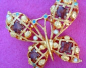 Large Bright Butterfly With Pearls and Rhinestones