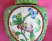 Striking multi-colored enamel cloisonne ginger jar vase snuff tea container