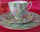 Shelley Rock Garden Chintz Trio cup, saucer, plate