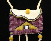 Handmade Bag Bib Necklace Glass Beads on Deerhide Rare Dark Pink beads and Yellow