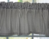 "Valance Waverly Black and Ivory Striped Timeless Ticking Fabric with lining 52""x13"""