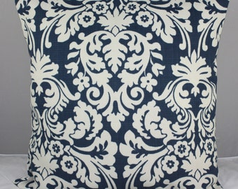 Pillow Cover Waverly Blue and Ivory  Damask Design 20x20  Free Shipping