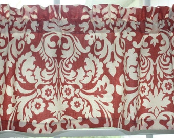 Valance Waverly Persimmon Red and Off White  Damask Design