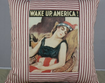 Pillow - Striped Ticking in Red and Off White Fabric Wake Up America  New and Handmade