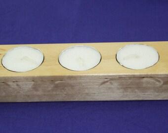 Candle Holder for Tea Lights Five  Holes Pine  Wood