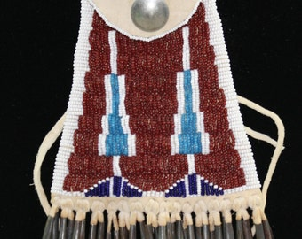 Beaded Bag Necklace Boho Chic Deerhide Blue, Red Glass Beads Native American Design Free Shipping