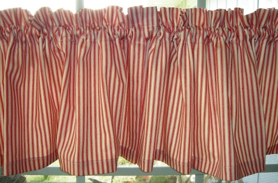 3 Sets Of Waverly Valances And Cafe Curtains Red And Off White