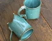Pair of Jade Green Handbuilt Tripod Mugs
