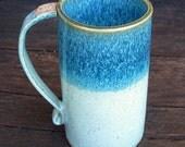 Vivid Deep Aqua/ Green Tall 16 oz. Handbuilt Coffee Cup/ Mug