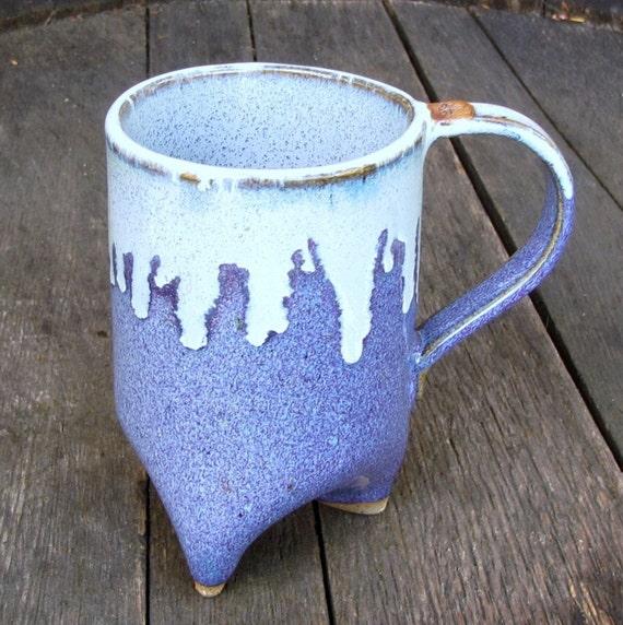 Blue Icicles Handbuilt Tripod Mug