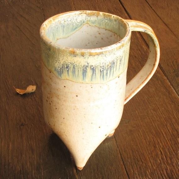 Tall Handbuilt Tripod Coffee Cup/ Mug in Shino and Magic