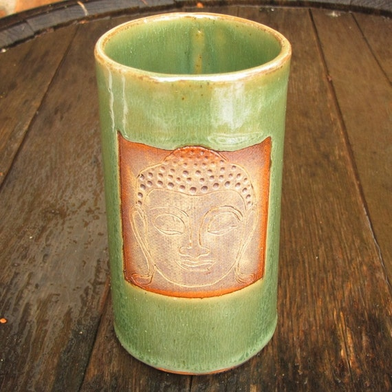 Tall 16 oz. Handbuilt Buddha Mug in Shimmering Green