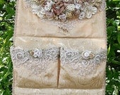 Gorgeous Shoe / Brooch Keeper / Organizer Ribbon Roses Flowers Pearls Lace - TREASURY ITEM