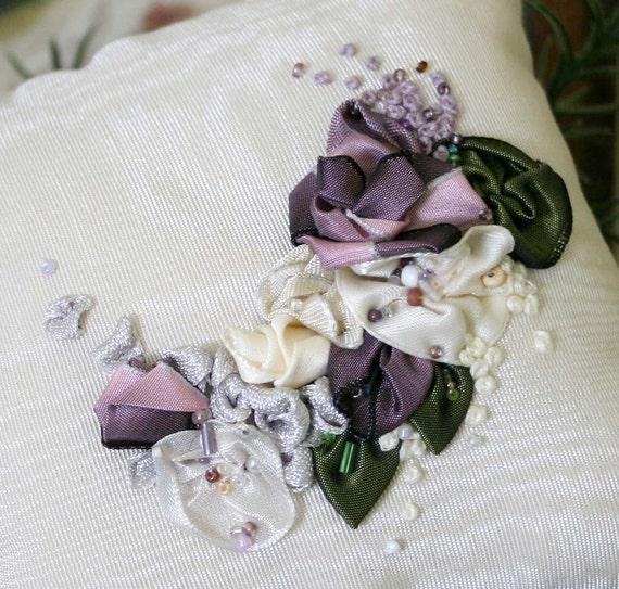 Ribbonwork Embroidery Pillow - TREASUREY ITEM