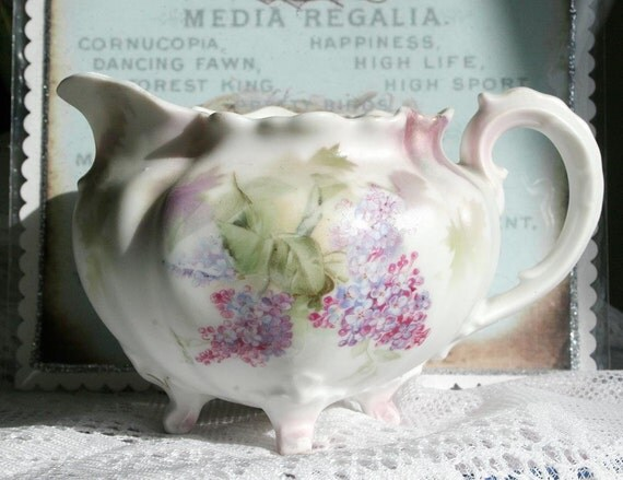 RESERVED for Sandi Beautiful Vintage RS Prussia Lilacs Porcelain Bisque Creamer / Pitcher