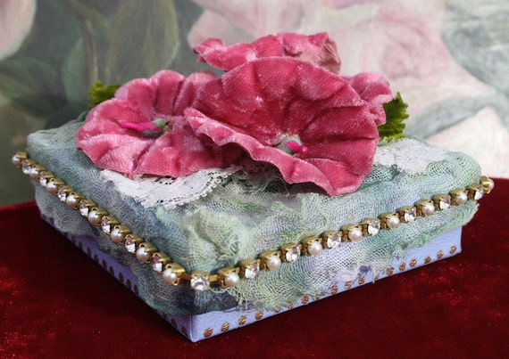 Jeweled Box with Millinery - Hollyhock- Zoe