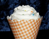 Orange Gingham Cupcake wrappers ...Tangerine Checkered Holder Wrap ...12 count Plaid READY TO SHIP