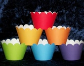 Rainbow of Colors Cupcake wrappers ... 12 count ... Red Orange Yellow Green Blue Violet READY TO SHIP