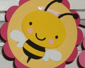 Baby Bumble Bee Banner Baby Shower Banner ... Birthday ... MADE TO ORDER ... 3 Die Cut panels ...  pink yellow  ... Custom options available